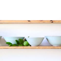 Thrown bowls, Celadon green